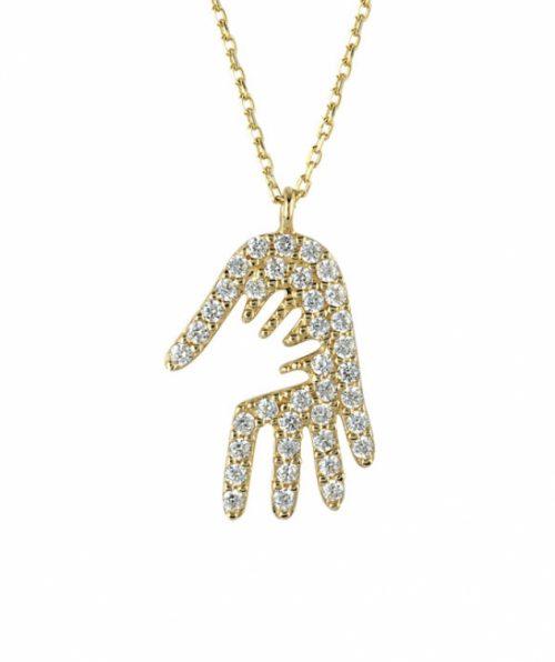 Anne çocuk el ele altın kolye