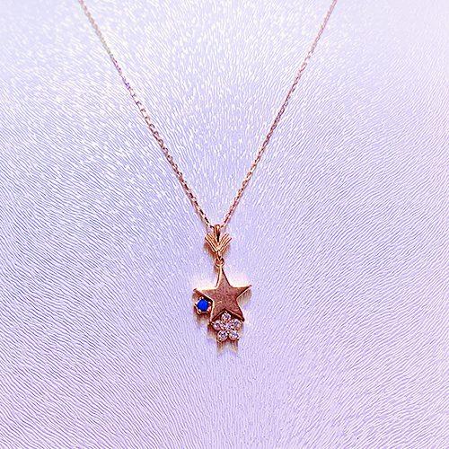Mavi Taşlı Yıldız Altın Kolye